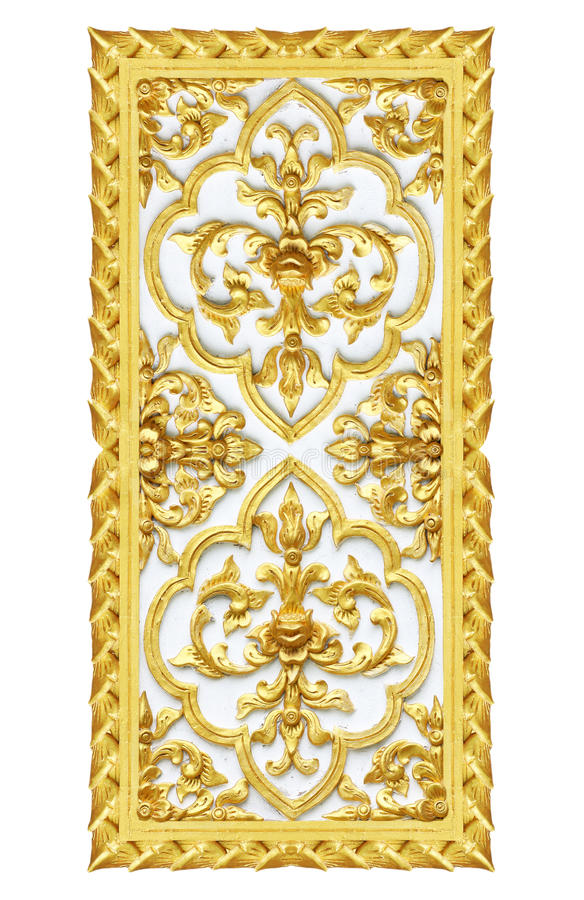 Antik blomma för guld- stuckaturväggar arkivfoto