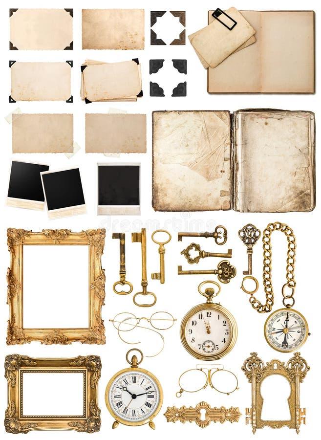 Antik bok, åldrigt papper, guld- tangenter Samling av tappningobj royaltyfri fotografi
