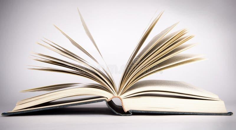 Antik bok med fläktade sidor arkivbild