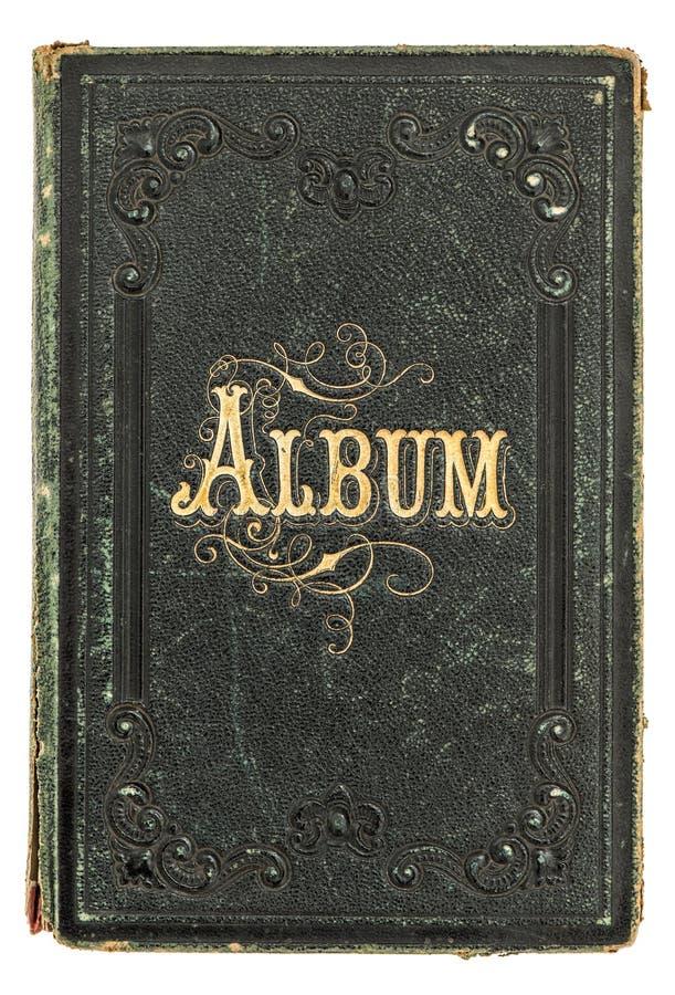 Antik bok med guld- garnering albumbuketten dekorerade tappning för fotoet för blommaramhollyhocks arkivbilder