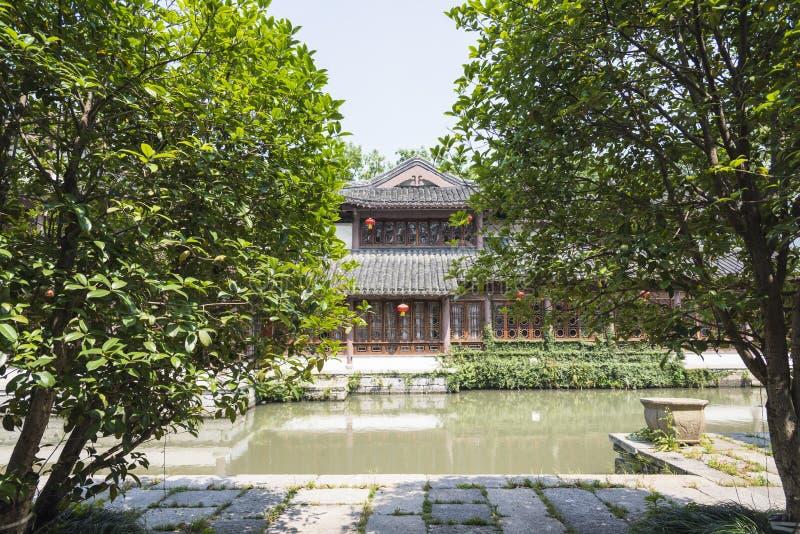 antik byggnad längs den Qinghuai floden royaltyfri fotografi
