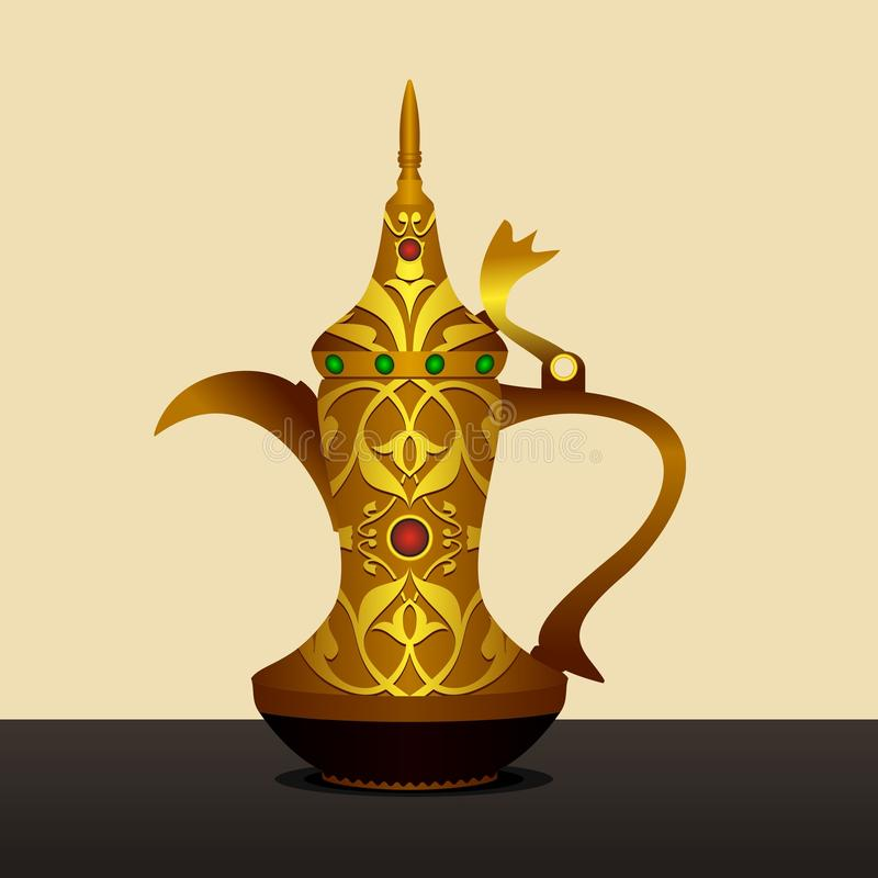 Antik Dallah arabisk kaffekruka stock illustrationer