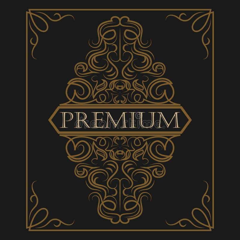 Antik etikett, tappningramdesign, retro logo stock illustrationer
