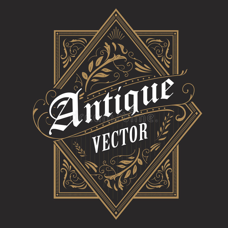 Antik för ramtappning för gräns västra typografi för etikett dragen hand royaltyfri illustrationer