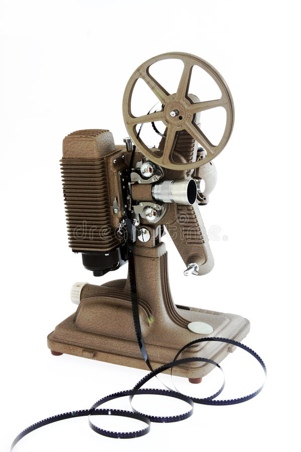 Antik filmprojektor som isoleras på White royaltyfria bilder
