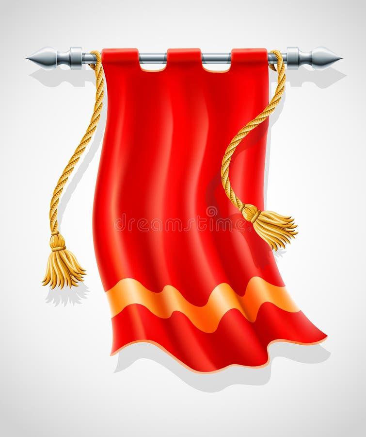 antik flagga som flapping röd wind stock illustrationer