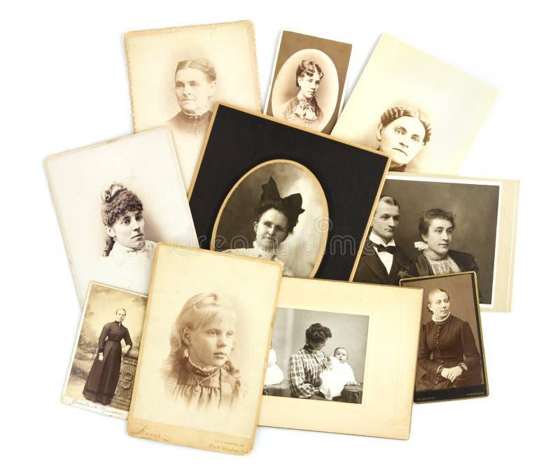 Antik fotoCollage på vit bakgrund arkivfoton