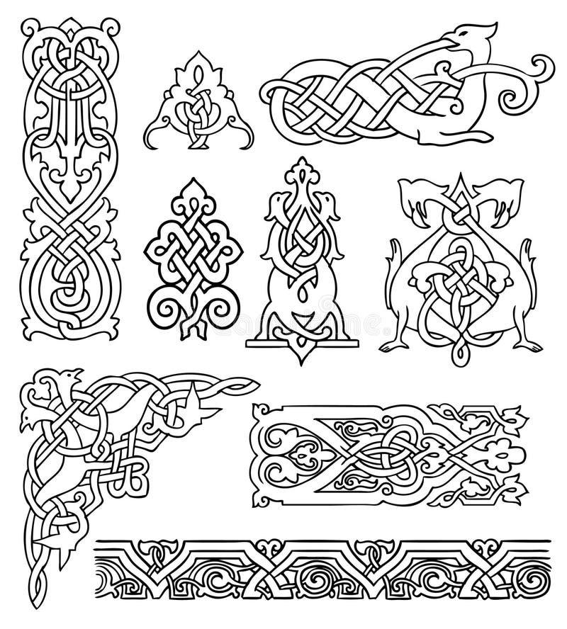 Antik gammal ryssprydnaduppsättning stock illustrationer
