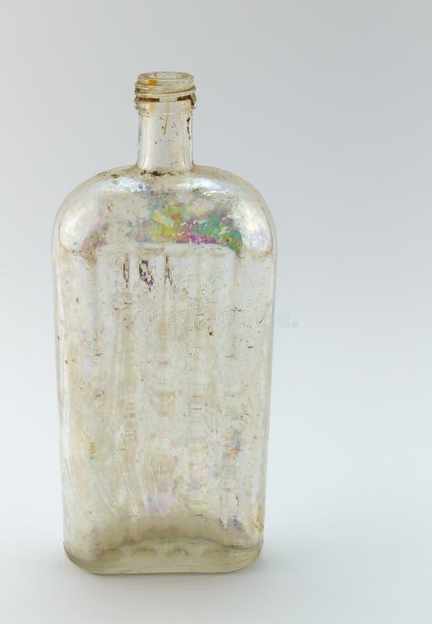 Antik glass medicin-/giftflaska arkivbilder