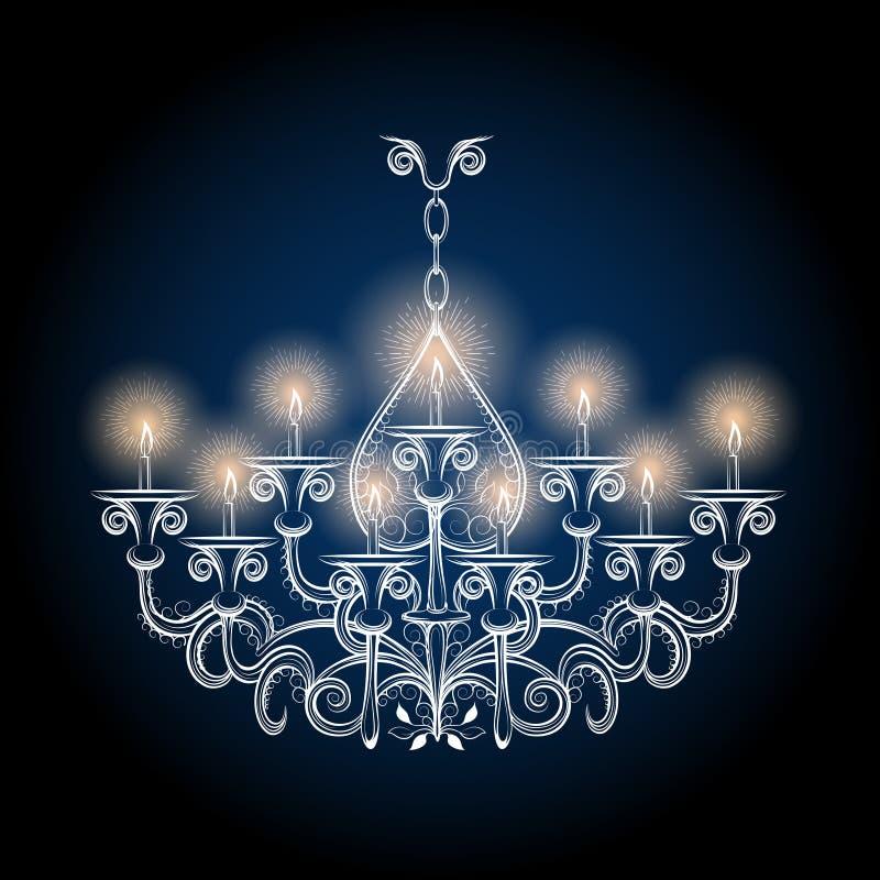 Antik gotisk tappningljuskrona vektor illustrationer