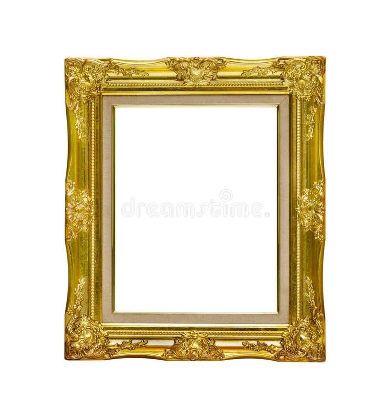Antik guld- bildram som isoleras på vit bakgrund, clippi arkivfoto