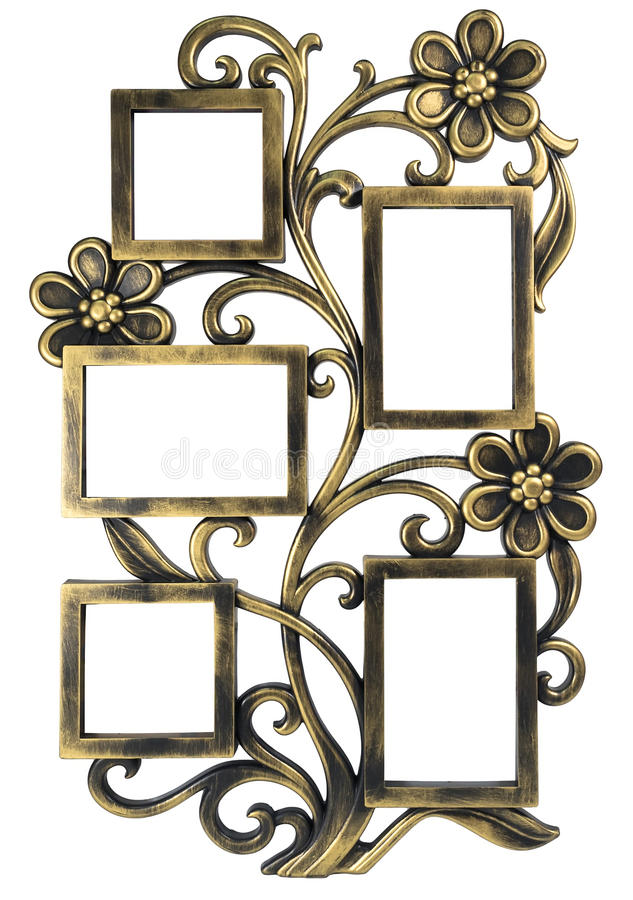 Antik guld- fotoram med beståndsdelar av den blom- falska prydnaden Ställ in 5 fem ramar bakgrund isolerad white royaltyfri bild