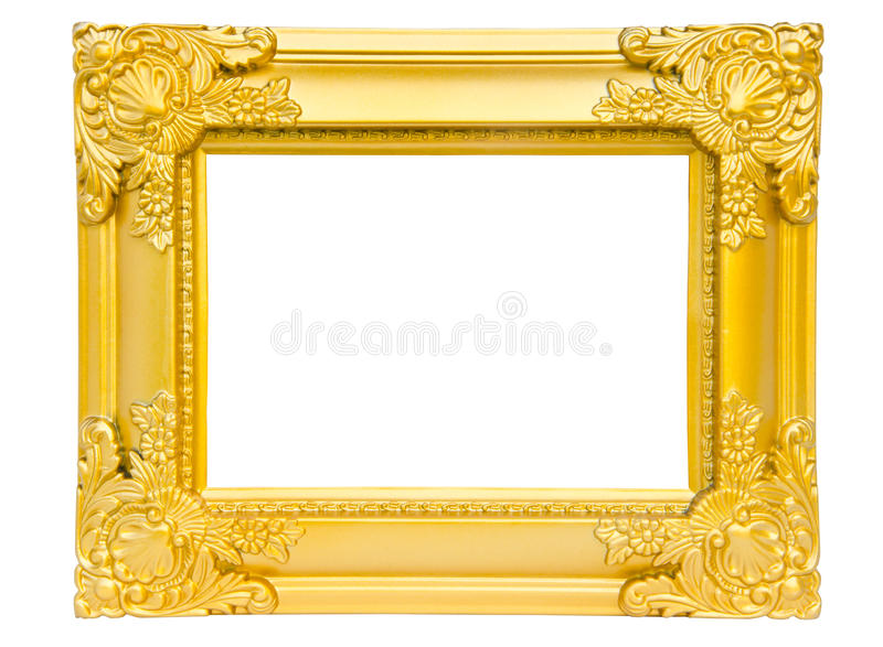 Antik guld- ram som isoleras på vit bakgrund arkivbilder