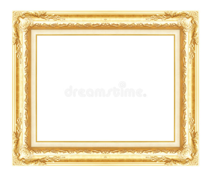 Antik guld- ram som isoleras på vit bakgrund royaltyfria foton