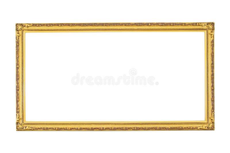 Antik guld- ram som isoleras p? vit bakgrund isolerad ramguld isolerat guld- f?r ram Isolerad guld- ram för rektangel fotografering för bildbyråer