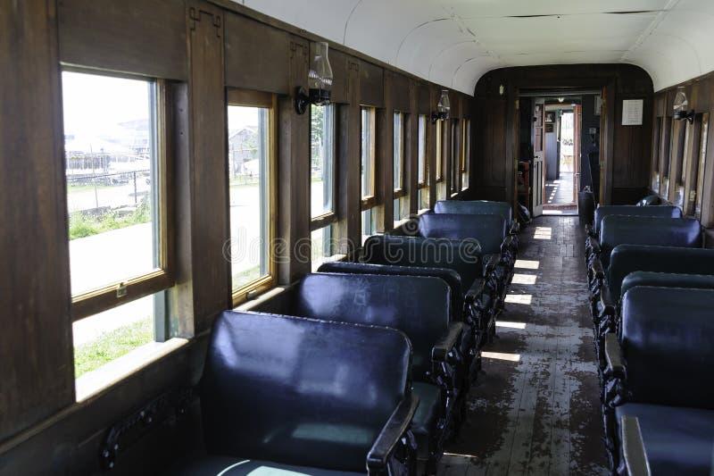 Antik inre för järnväg bil royaltyfri bild