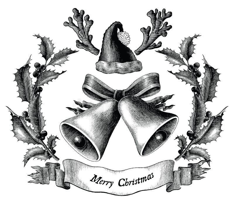 Antik inrista illustration av det svartvita gemet för jul stock illustrationer