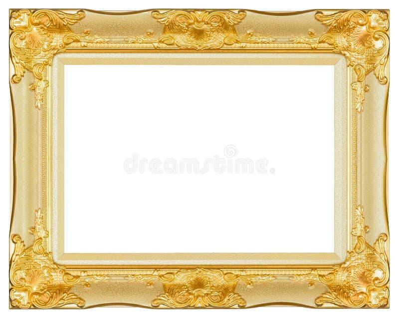 Antik isolerad dekorativ sniden wood ställning för guld och för vit ram royaltyfria foton