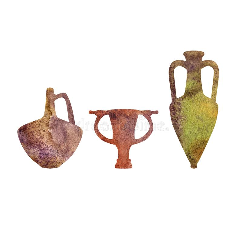 Antik keramik, vattenfärgkonturer stock illustrationer