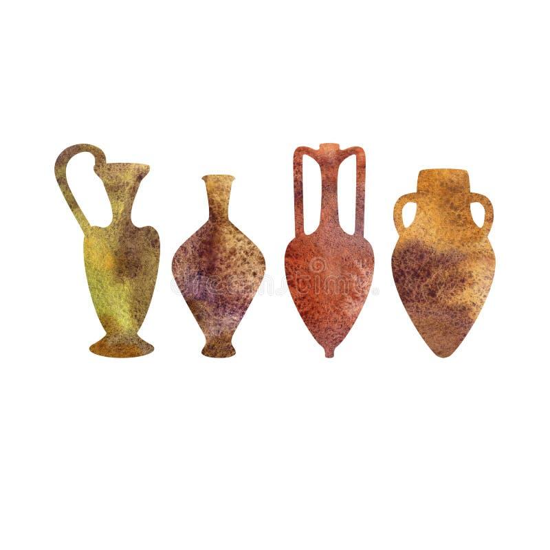 Antik keramik, vattenfärgkonturer vektor illustrationer
