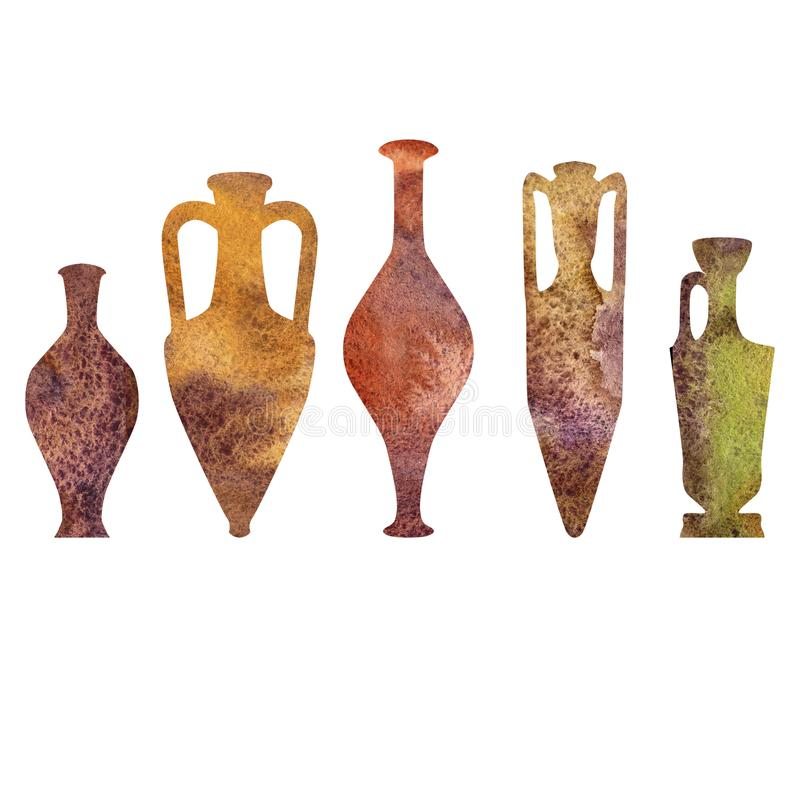 Antik keramik, vattenfärgkonturer royaltyfri illustrationer