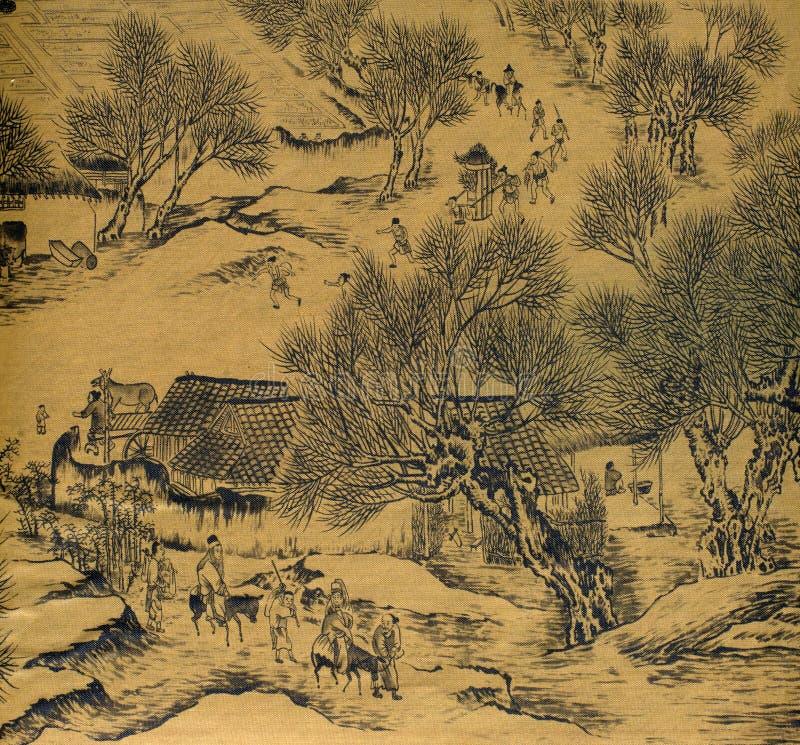 antik kinesisk målningssilk royaltyfri illustrationer