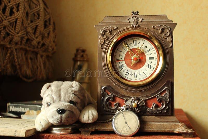 Antik klocka- och leksakbulldogg i en gammal inre royaltyfri foto