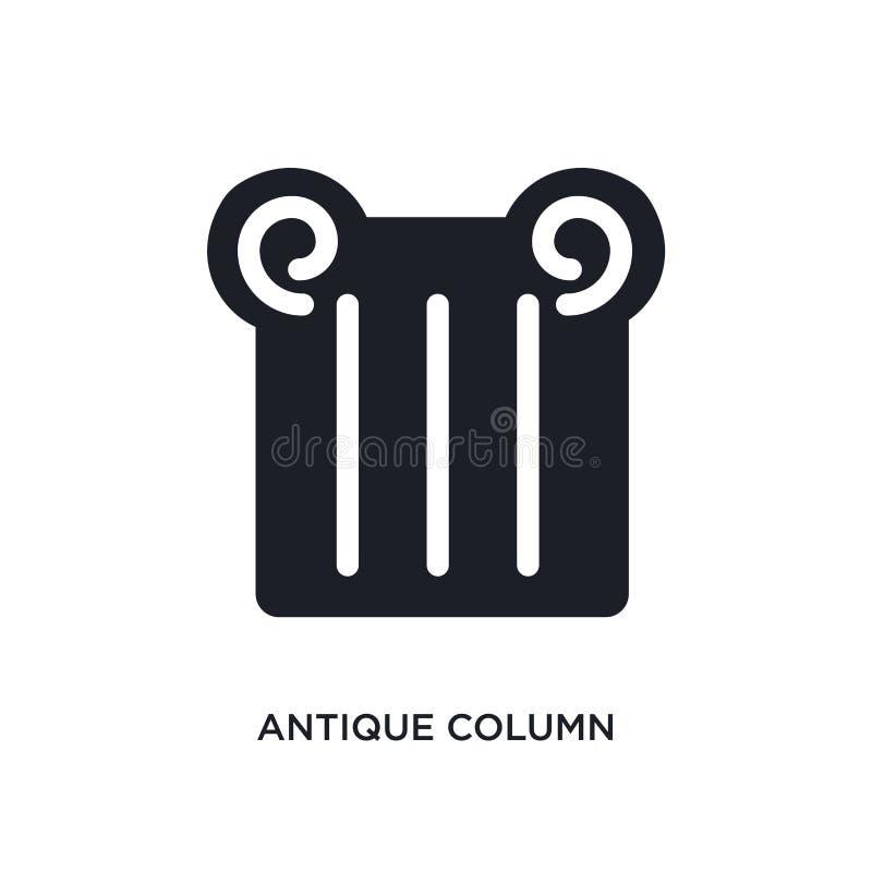 antik kolonn isolerad symbol enkel beståndsdelillustration från museumbegreppssymboler för logotecken för antik kolonn redigerbar stock illustrationer