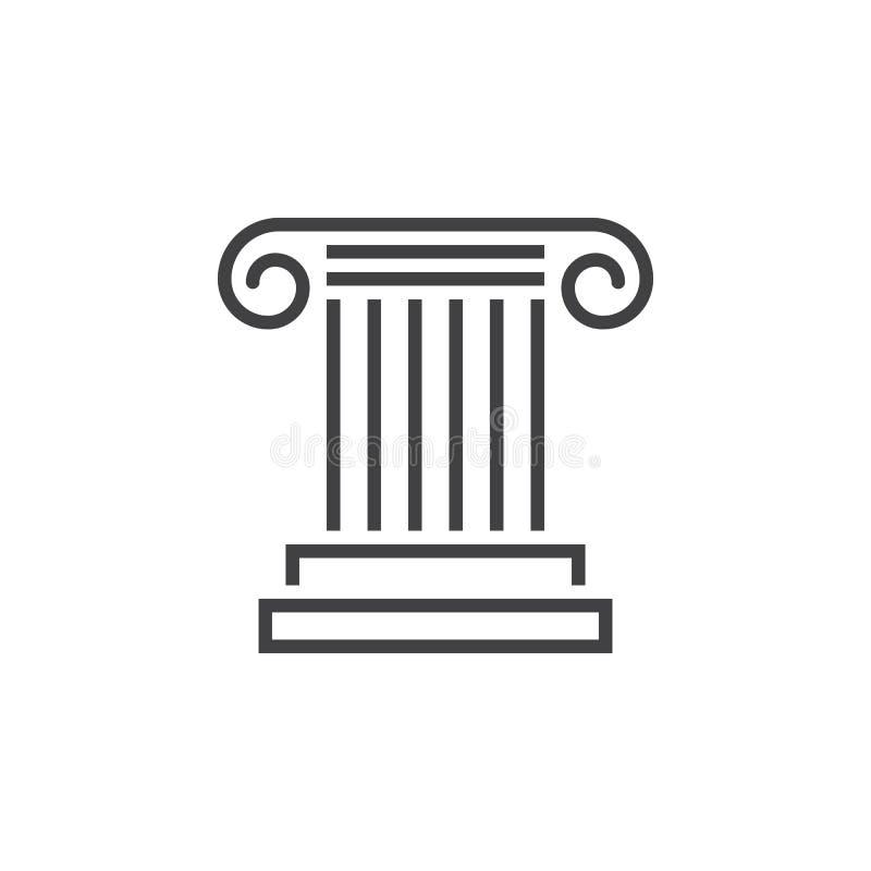 Antik kolonnlinje symbol, logo för pelaröversiktsvektor, linjär pic royaltyfri illustrationer