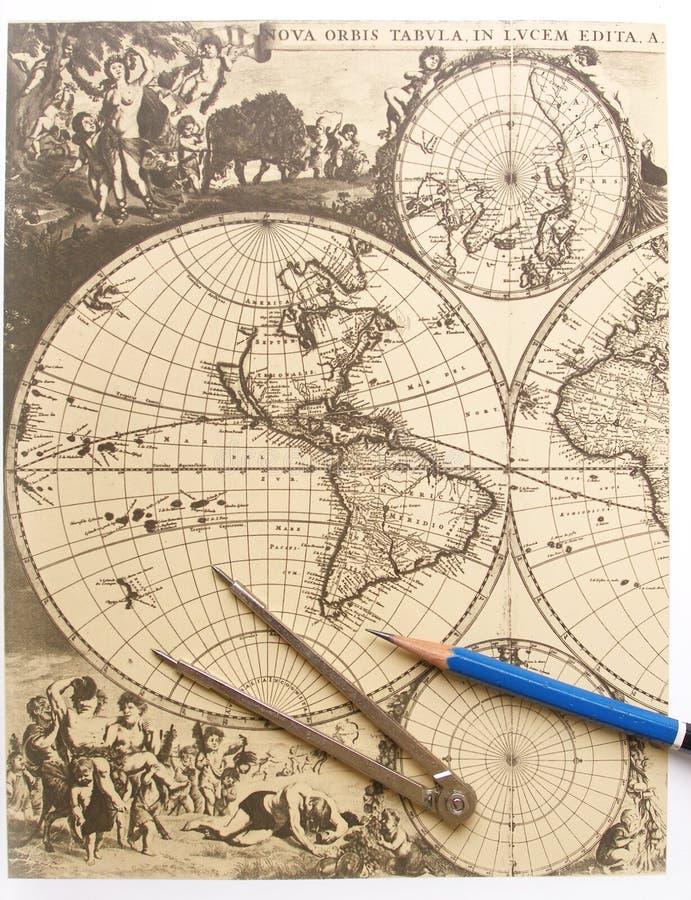 antik kompassöversiktsvärld