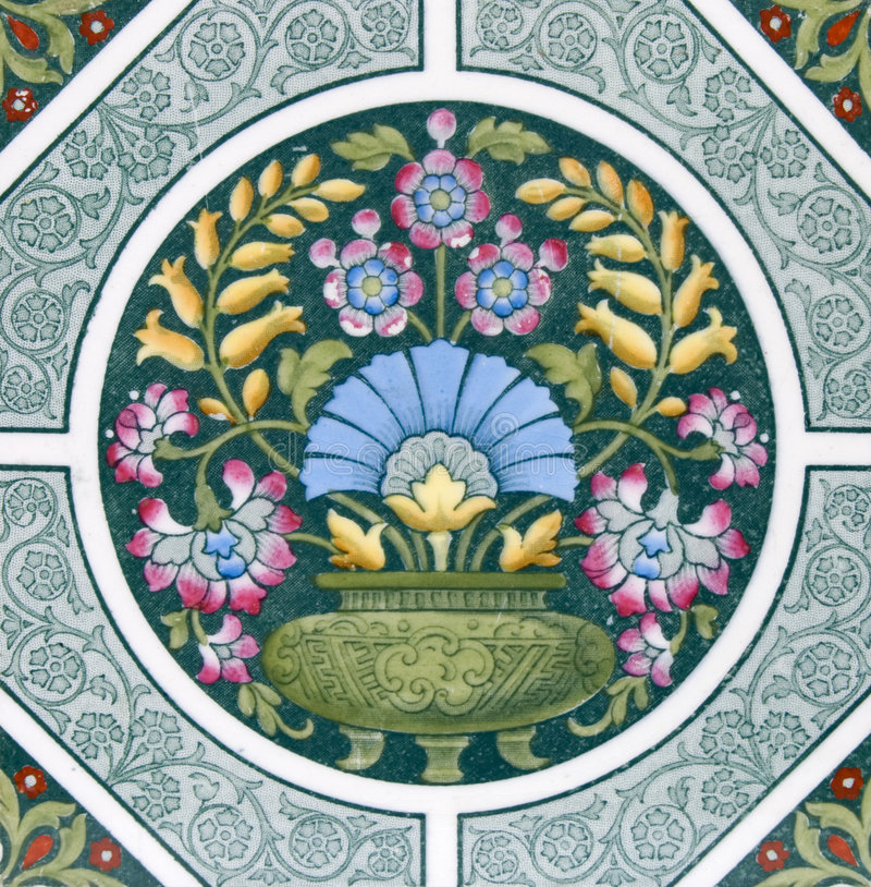 antik konsthantverktegelplatta royaltyfri bild