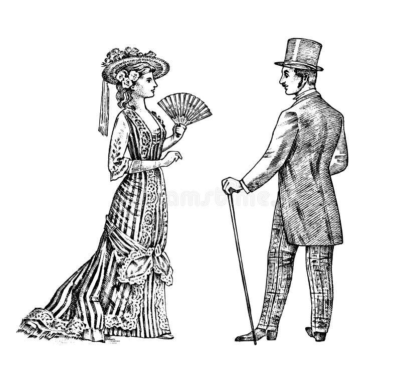 Antik ladie och man Viktoriansk Dame och gentleman Forntida Retro kläder Kvinnan i boll snör åt klänningen Tappninggravyr royaltyfri illustrationer