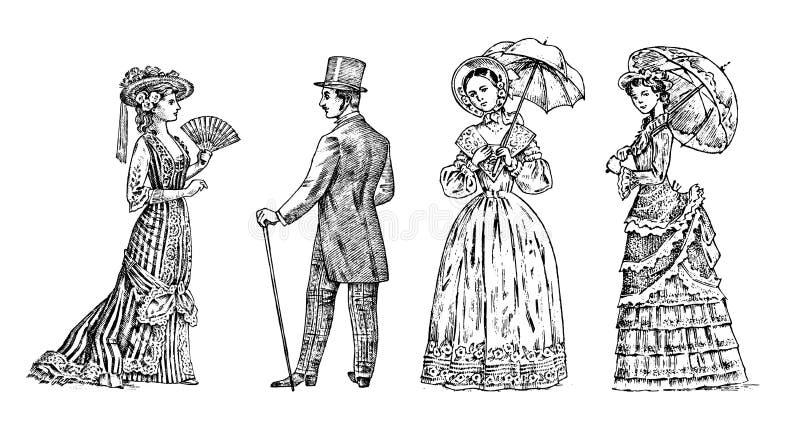 Antik ladie och man Viktoriansk Dame och gentleman Forntida Retro kläder Kvinnan i boll snör åt klänningen Tappninggravyr stock illustrationer