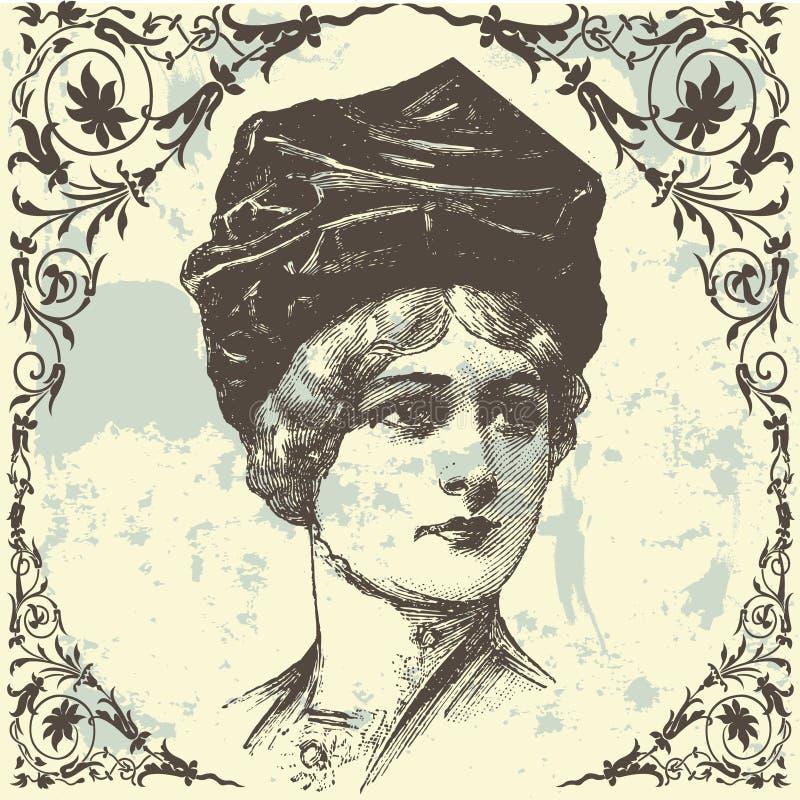 antik lady stock illustrationer