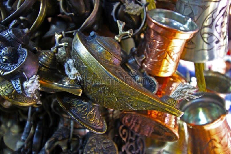 Antik lampa, Aladdins lampa, lykta arkivfoto