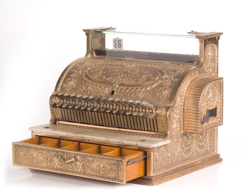 antik mässingskassaapparat royaltyfria foton