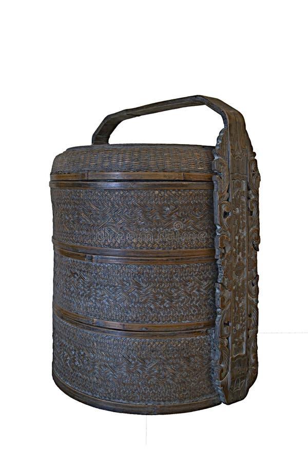 antik mat för bambukorgkines royaltyfri foto
