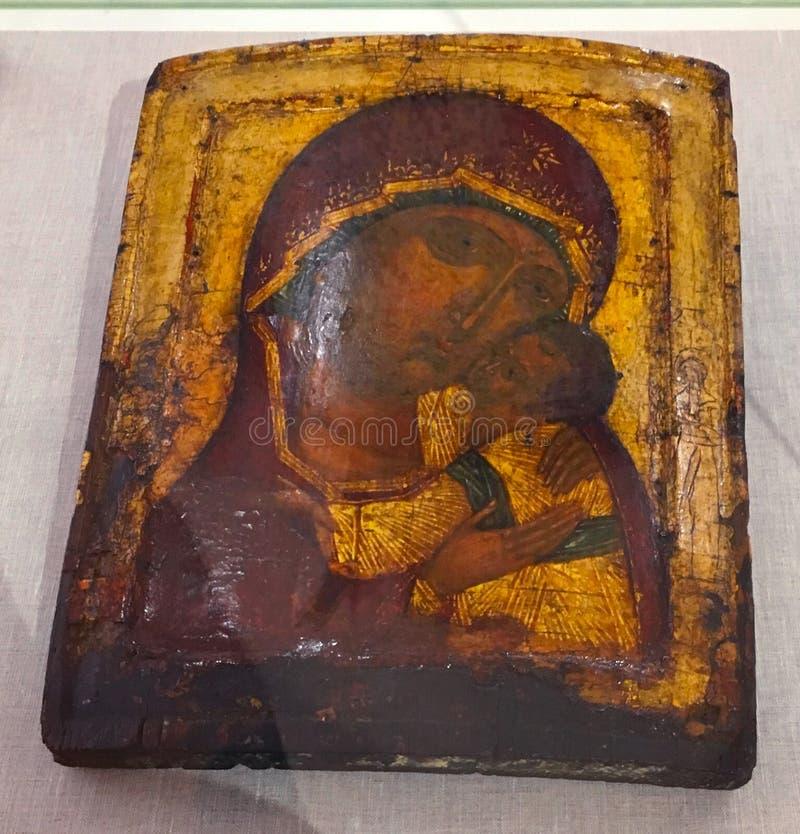 Antik ortodox målarfärg kallade symbolen, Rhodes, Grekland arkivfoto