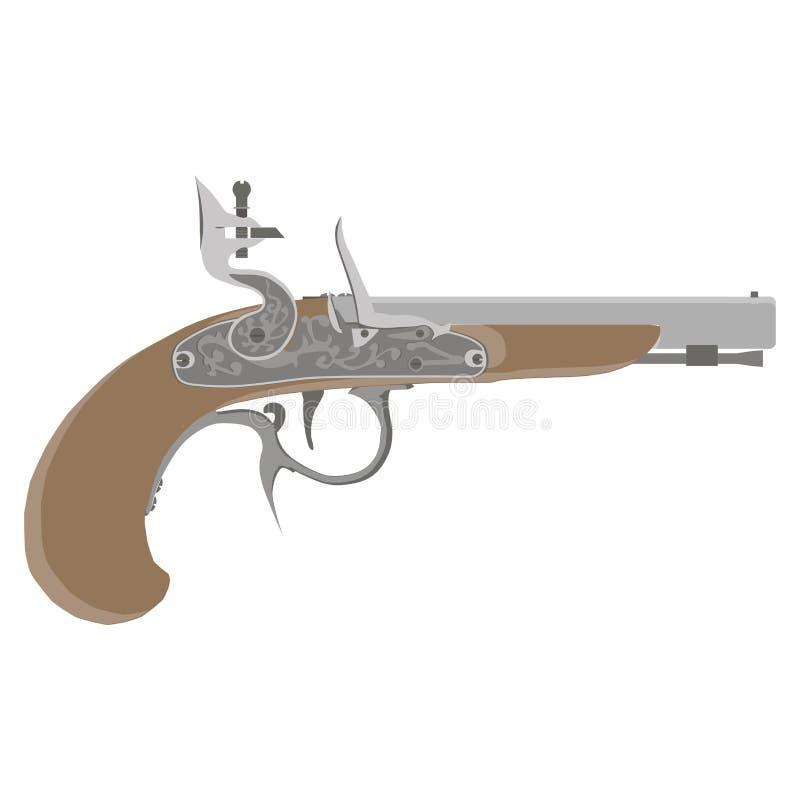 Antik pistolvektor för Flintlock Tappningvapen Retro musköt Den drog handen skissar av en revolver, vapnet, skjutvapnet, geväret, vektor illustrationer