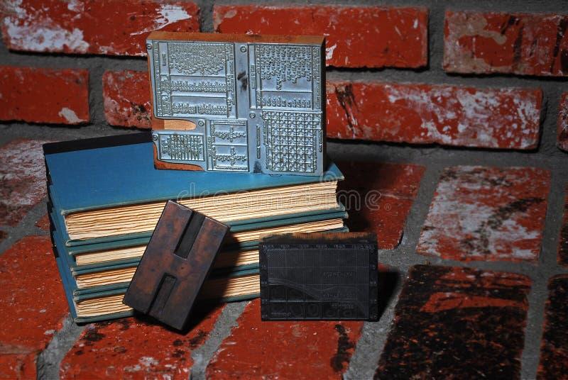 antik printing för blockbokpress royaltyfri bild