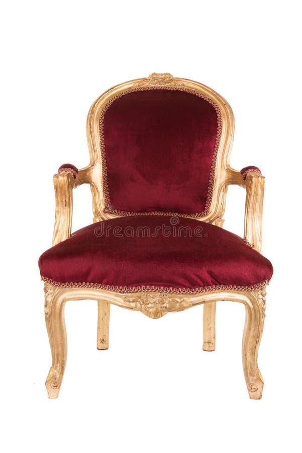 Antik röd och guld- stol royaltyfri fotografi