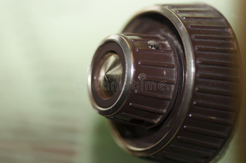 Antik radioknopp royaltyfri fotografi