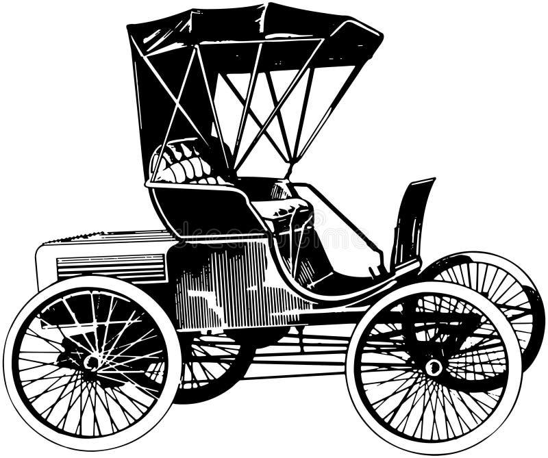 antik retro bil för 1900 stil på vit bakgrund stock illustrationer