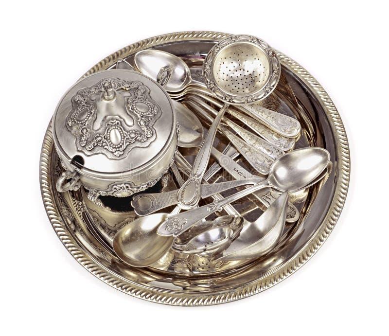 Antik silverware arkivbilder