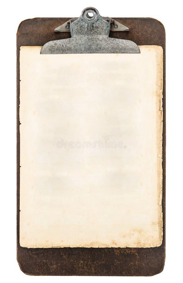Antik skrivplatta med arket av papper som isoleras på vit arkivbild