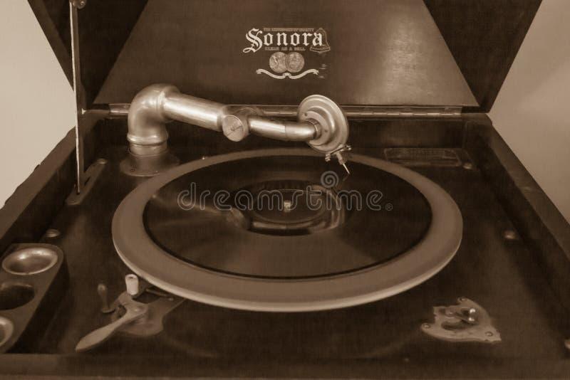 Antik Sonora upprätta Victrola arkivfoton