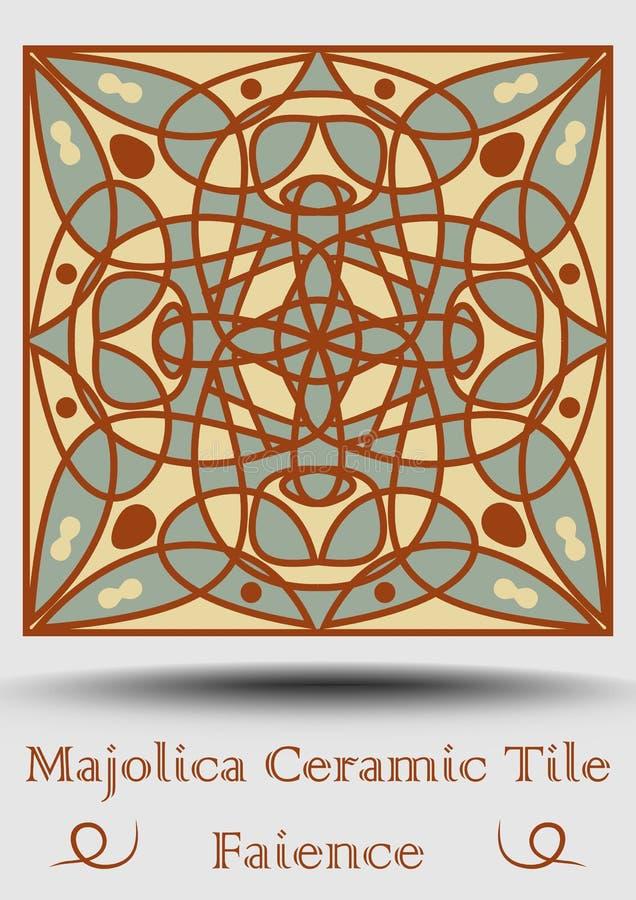 Antik tegelplatta för Majolica i beiga, olivgrön gräsplan och röd terrakotta Keramisk majolica för tappning Traditionell krukmake vektor illustrationer