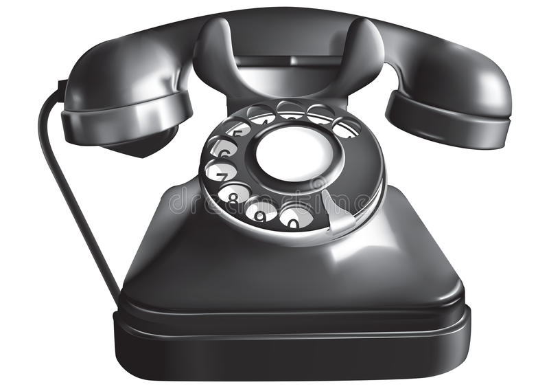 antik telefon stock illustrationer