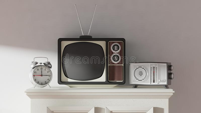 Antik TVuppsättning, ringklocka och radio på kabinettet royaltyfri illustrationer
