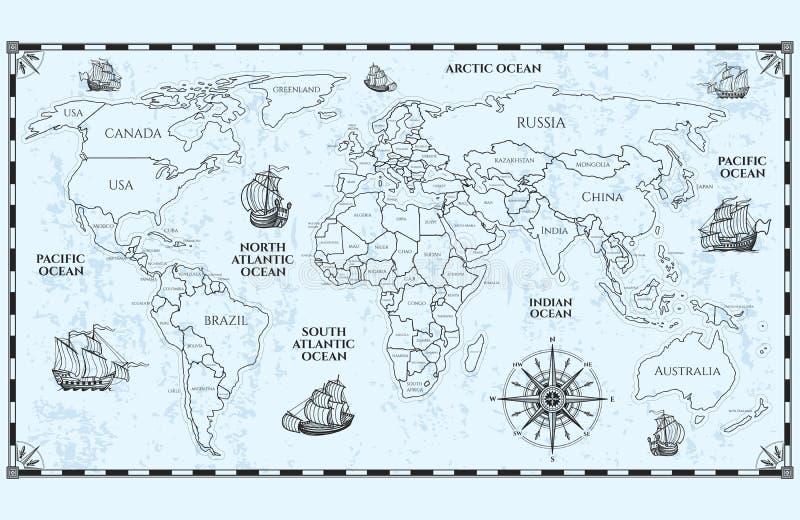 Antik världskarta för vektor med landsgränser och skepp vektor illustrationer